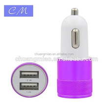 2 x USB Port Blue LED Light Top Standard Aluminum 2.4A 2.1A 1.5A High Speed car charger