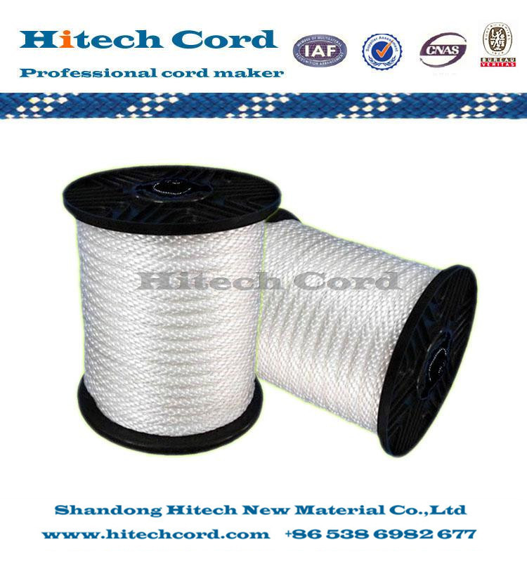 white color 8mm  Nylon Polypropylene Solid Braided Rope