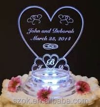 latest style acrylic wedding heart shaped cake toppers with LED low price