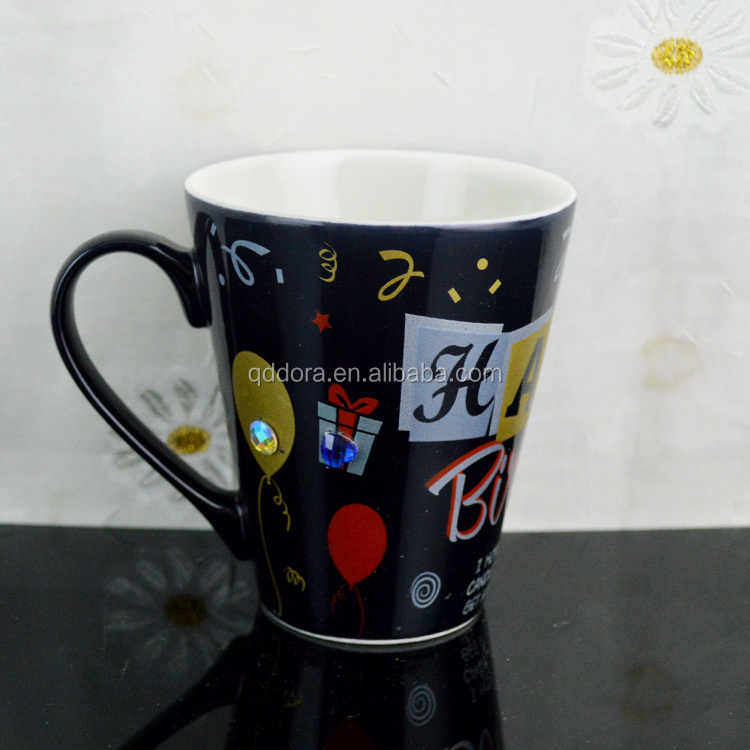 11oz ceramic black board mug with chalk pencil
