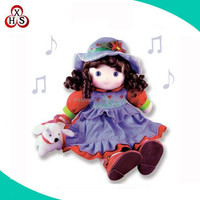 Custom pull string musical baby plush toys soft stuffed baby musical toy