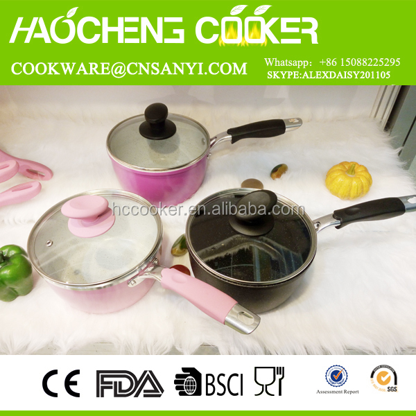 Colored mirror polish inside and outside cookware , rolled and step edge cookware sets