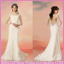 WD5516 dropshipping long sleeve lace appliqued mermaid/trumpet sweep train amazing backless sheer lace cover wedding dress