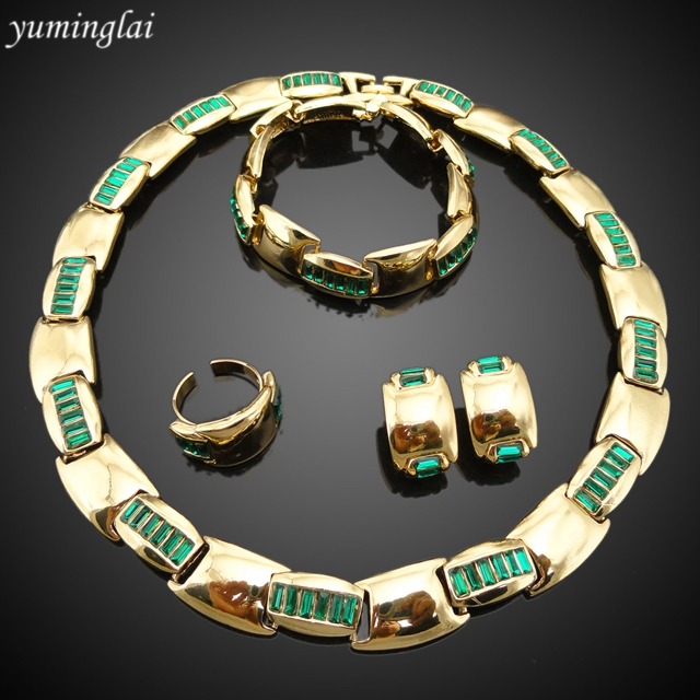 New Arrival 4pcs/set 18k gold plated jewelry set,italian gold plated jewelry sets ,party jewelry set FHK826