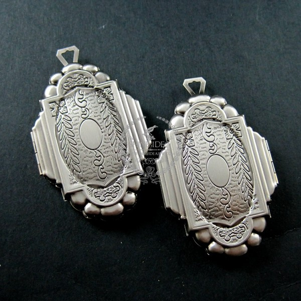 38x56mm vintage style flower engraved antiqued silver brass big unique photo locket pendant charm DIY supplies 1193001