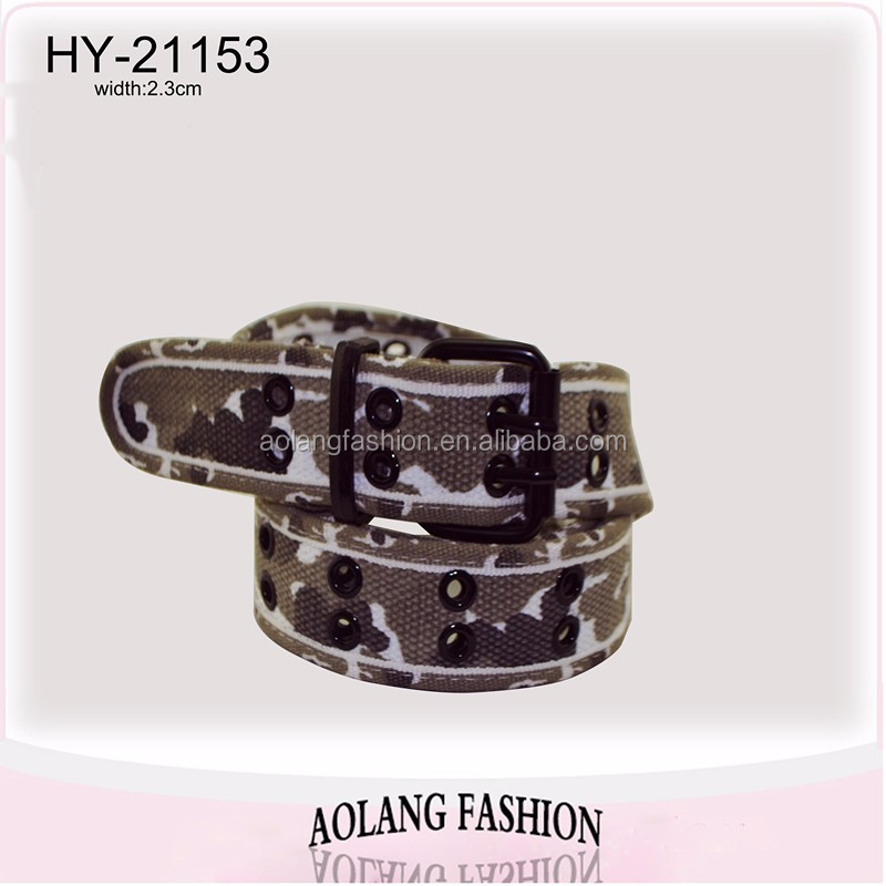 China Manufacture Cotton Belt camo, canvas webbing belt with eyelets