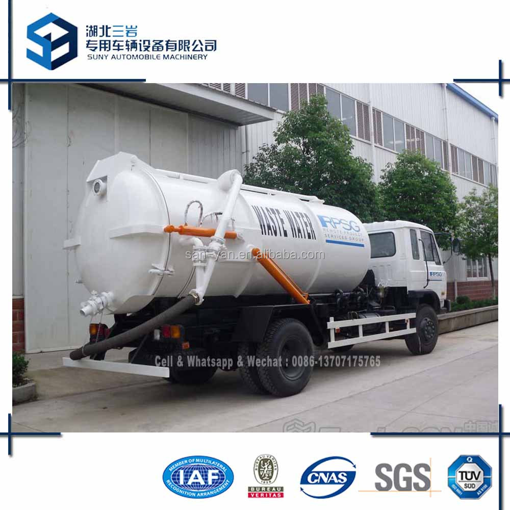12 m3 Vacuum Tanker Dongfeng 4x2 Sewage Suction Tank Truck 180 hp Sucking Tanker Truck
