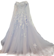 LS58110 Real shoulder shawl flower wedding dress online shop grecian style royal blue and white wedding dresses