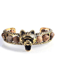 Wholesale Wolf Head Stainless Steel Gold Natural Stone Bracelet Men Jewelry cuff bangle