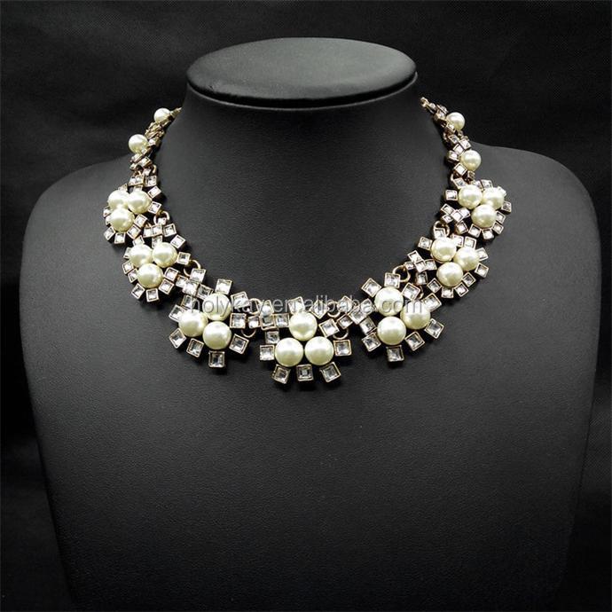Nuevos productos calientes para 2016 el último diseño de moda multi strands collar de perlas de