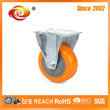 3 Inch Orange PU Fixed Medium Duty Caster Wheel