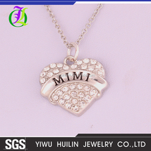 A500356 Yiwu Huilin Jewelry crystal peach MIMI heart link chain necklace
