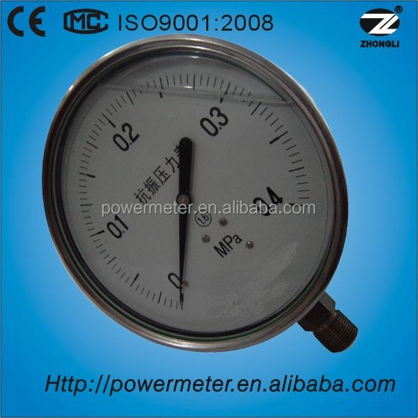 "(YBF-40) 40mm 1.5 "" all stainless steel liquid filled level gauge manometre"