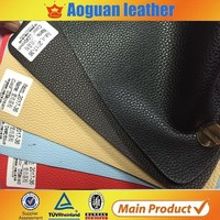 Guangzhou direct supply litchi grain flocking leather fabric for making pu/pvc sofa with good price