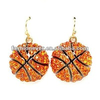 Sport Jewelry Basketball Crystal Rhinestone Dangle Fashion Earrings
