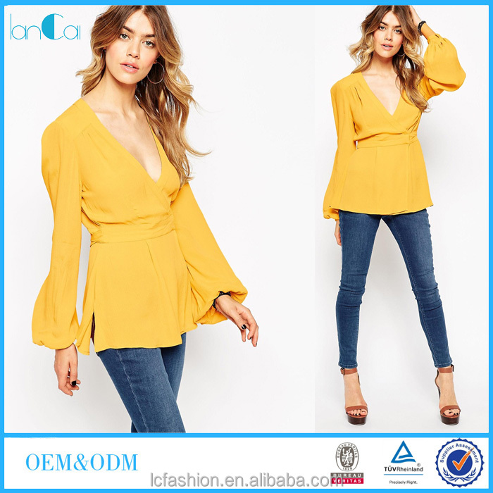 V-neck long sleeve chiffon blouses for women 2016 online shopping clothing