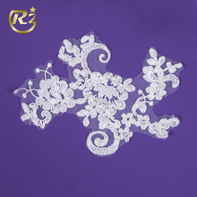 LH-71R1 Chinese Embroidery Design Garment Sew On Lace Bling Neck Applique