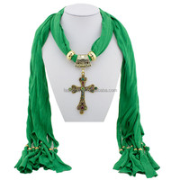 Jewelry Pendant Scarf Women Fashion Colorful Crystal Cross Pendant Jewelry Scarf 6 Colors