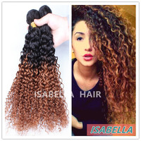 Two Tone Ombre 1B/30 Kinky Curl X Pression Hair Extension Malaysian Hair Weave