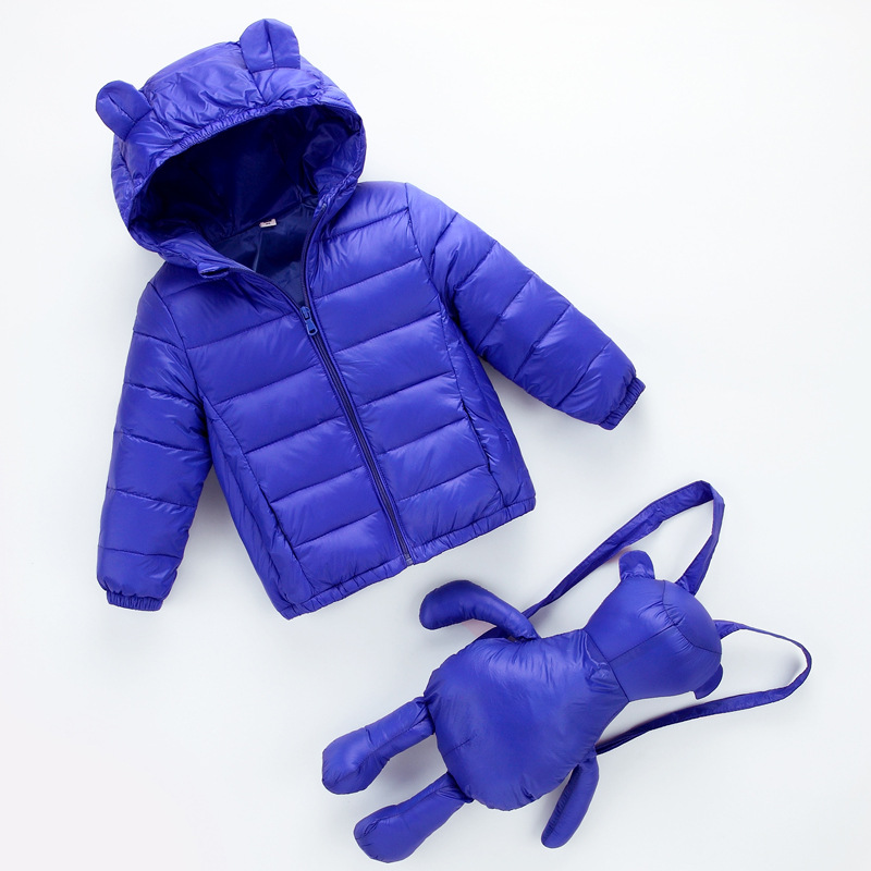 China wholesale children down jacket kids down coat with backpack