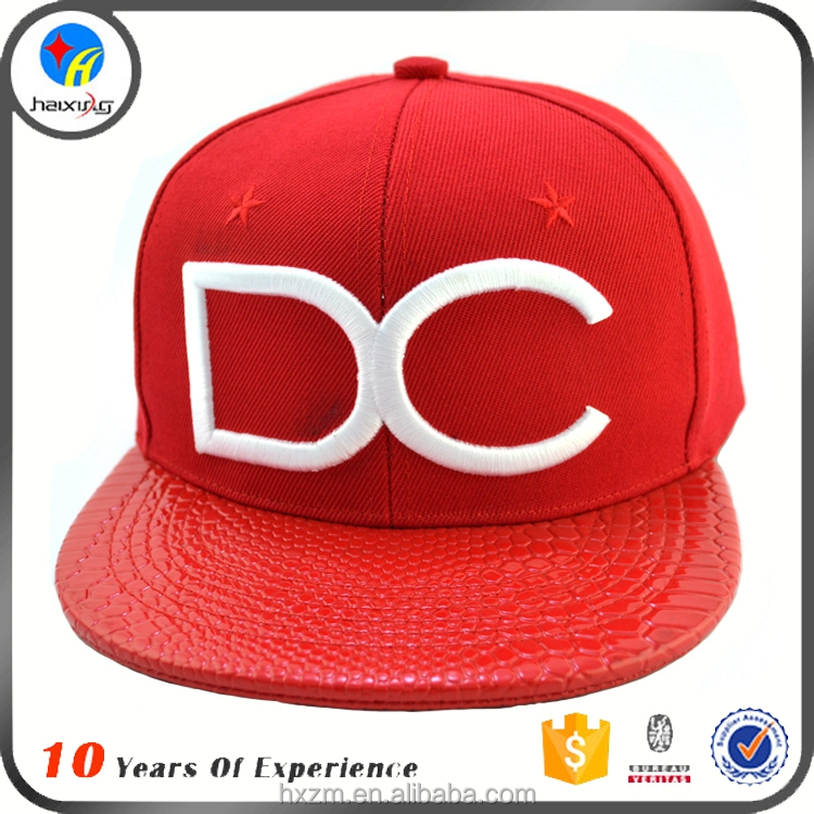 leather strap flat brim baseball cap/red leather snapback hats