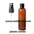plastic bottles, amber PET ovals with black ribbed fine mist sprayers