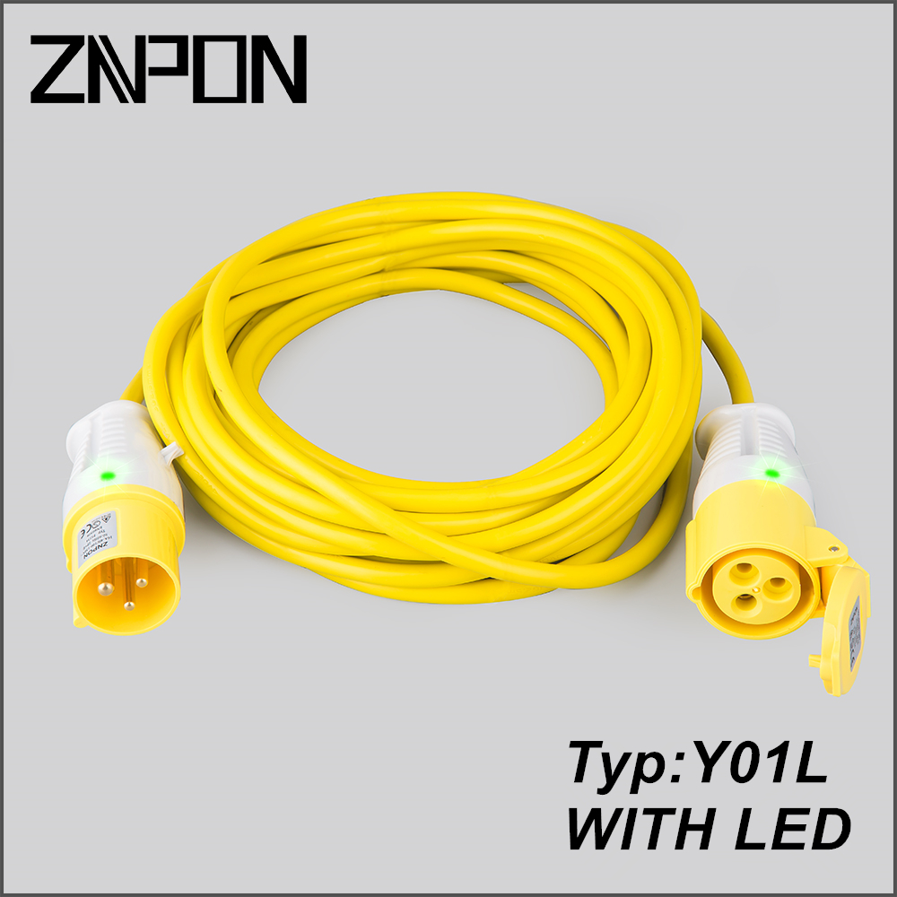 Camping 16A 2P+E 110V extension cord manufacturers with LED light