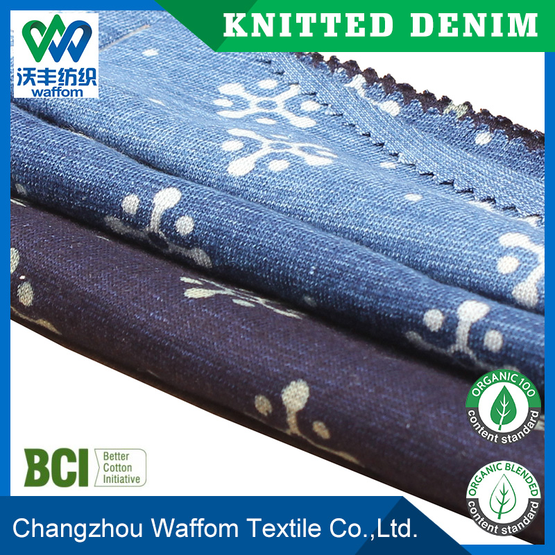 Cheap knitted jersey jeans fabrics printed for women