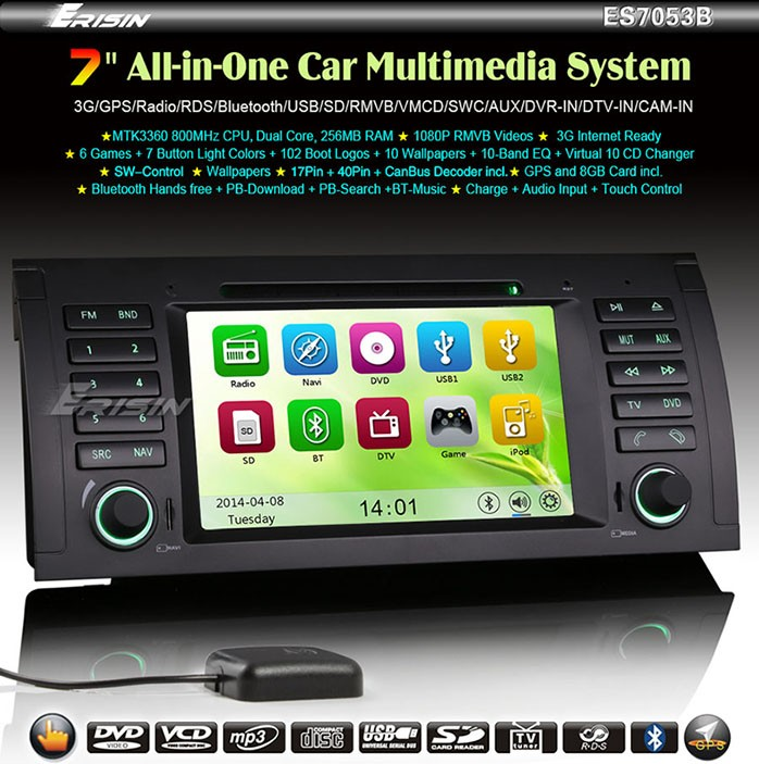 erisin es7053b 7 car multimedia system 1080p 7 series e38