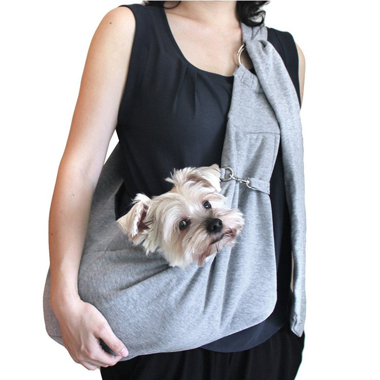 Hands-free small folding foldable reversible cotton pet sling carrier bag for dog