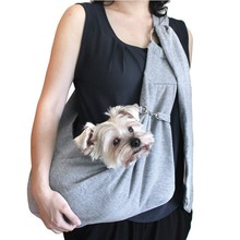 Hands-free small reversible pet dog sling carrier bag for dog