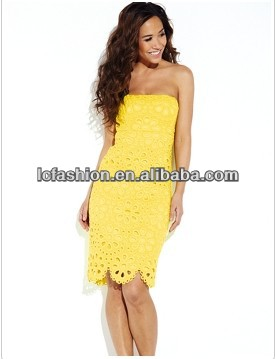 2014 Lemon Yellow Color Strapless Broderie Bodycon Evening Short Dress