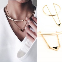XR-14 Triangle Pendant Gold Fashion Necklace