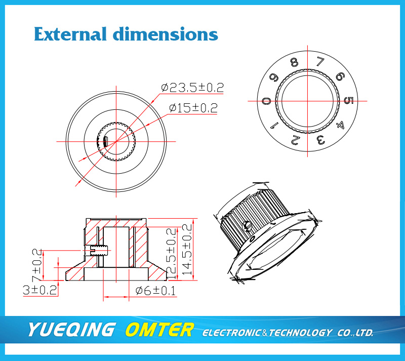 3017A  6mm/6.4mm digital turns counting dial