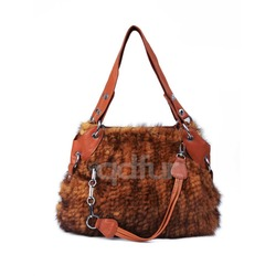 QD30419 Germany Knit Real Mink Fur Handbag And Sheep Leather Bag