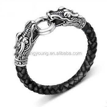 Custom Leather Dragon Bracelet stainless steel leather bracelet