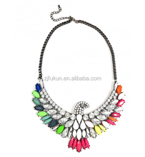 Hot Sale Party Rainbow Phoenix Crystal Neon Marquise Cluster Statement Necklace