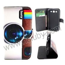 For Samsung Galaxy S3 Wallet Case, Flip Stand Cross Texture PU Wallet Leather Case Cover for Samsung Galaxy S3 i9300