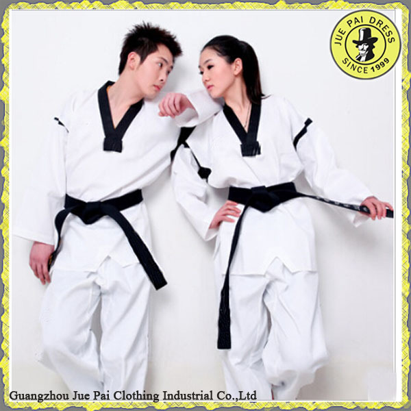 High Quality Cotton Striped Taekwondo Clothes Uniform