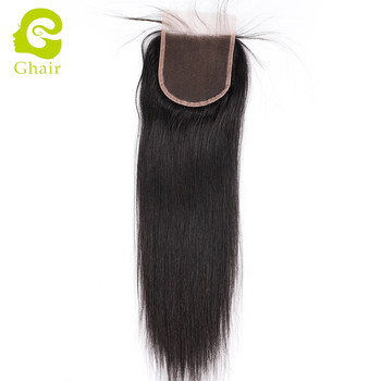 Huge stock 4*4 free part straight virgin malaysian human hair lace closure with baby hair