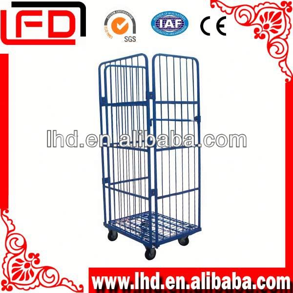 storage Wire pallet cage foldable 3-side