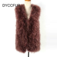 factory direct 9 colors choice 70cm long women S to 4XL size v neck collar sleeveless hooked natural ostrich fur vest