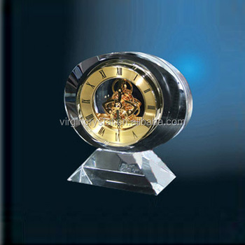 Noble Custom Hand Made Clear Crystal Round Clock
