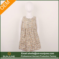 Fancy design all over flower printing girl's summer dress