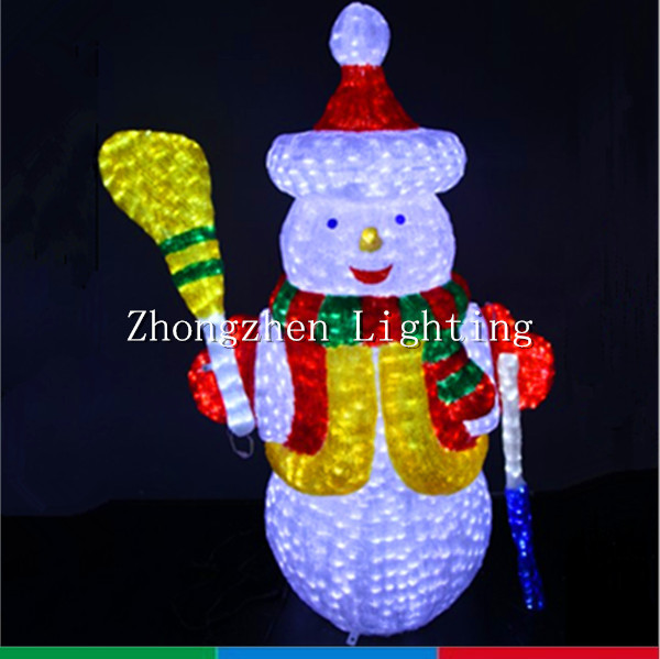 outdoor light up 3d led decorative christmas snowman crystal