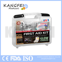 2017 New Item KF418 Be Smart Get Prepared 250 Piece First Aid Kit for Office, Home, Car, School, Emergency, Survival, Camp