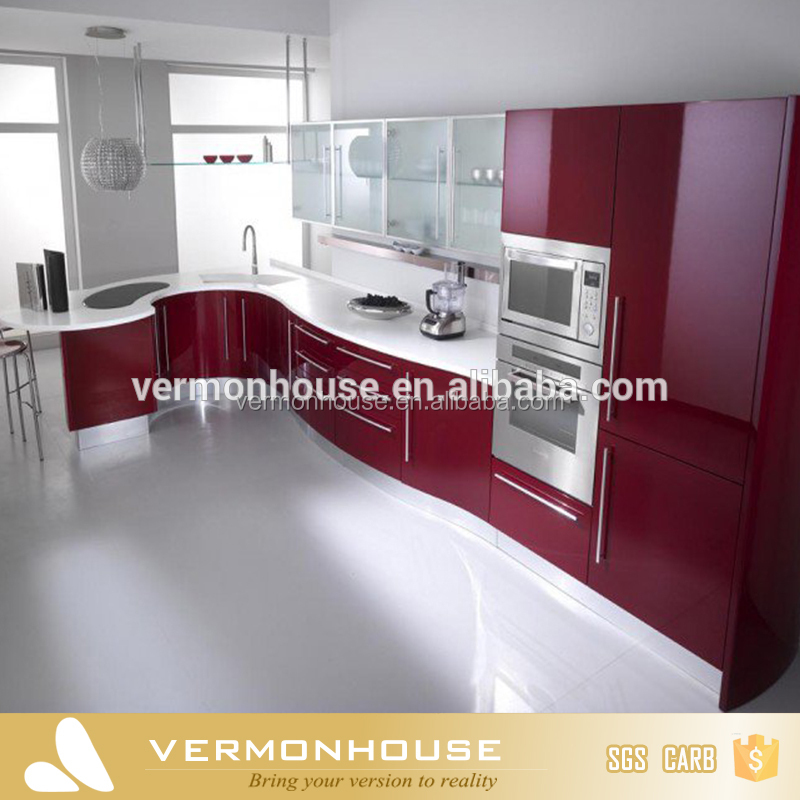 Hangzhou Red Lacquer Luxury High Gloss Kichen Furniture For Wooden Kitchen Cabinet