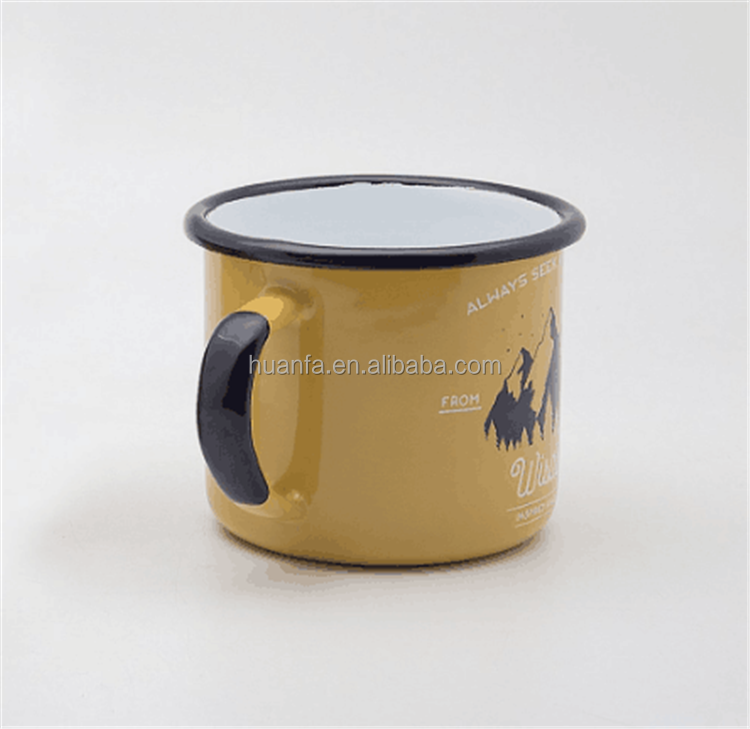 wholesale By Alliance Essentials High quality heavy feel Enamel Coffee Mug with Custom Colorful Handle Rim