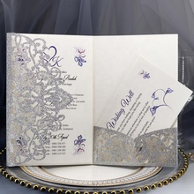 Factory Direct Sell Laser Cut Glitter Business Invitation <strong>Card</strong>