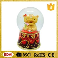 High quality LED snow globe with sweetheart/ hugging bears/kids inside Valentine's day crafts and gifts